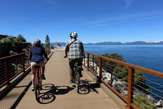 The Tahoe East Shore Trail stretches approximately three miles from Tunnel Creek Café in Incline Village to Sand Harbor in Lake Tahoe Nevada State Park.