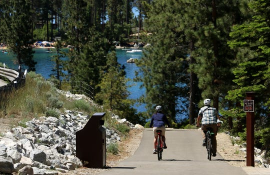 The new Tahoe East Shore Trail descends into Sand Harbor.