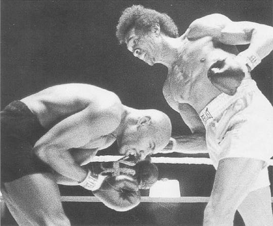 "Willie ""The Worm'' Monroe lands a right hand against Marvin Hagler on March 9, 1976 at the Philadelphia Spectrum. Monroe won a 10-round decision, one of only three losses Hagler incurred in his Hall of Fame career and the only loss he admitted he got beat in. ""It's like a picture in my mind,'' Monroe said."