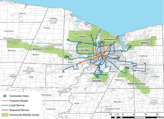 A redesign of Regional Transit Service includes frequent routes and on-demand suburban service.