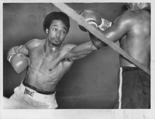 "Willie ""The Worm'' Monroe against Angel Garcia at the War Memorial, Dec. 3, 1976. Monroe won by TKO in the seventh."