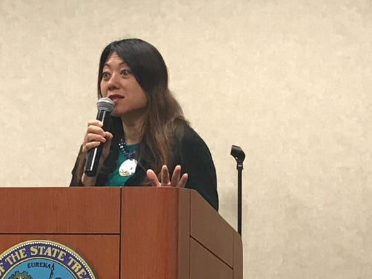 "California State Treasurer Fiona Ma speaks during her housing ""Listening Tour"" on June 27."