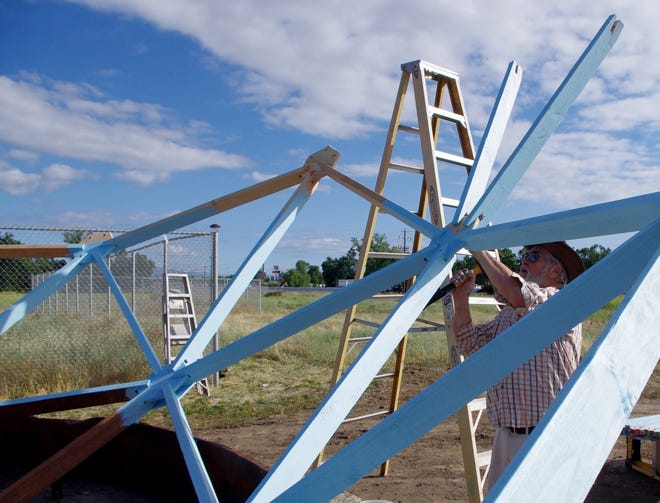 Charles Lasater, an engineer, artist and advisor to Providence International, is helping build a 30-foot-tall sphere in Churn Creek Bottom south of Redding.