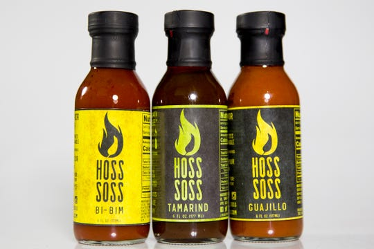 Hoss Soss sauces are pictured in the Statesman Journal Studio on June 26, 2019. The flavors shown are bi-bim, tamarind and guajillo.