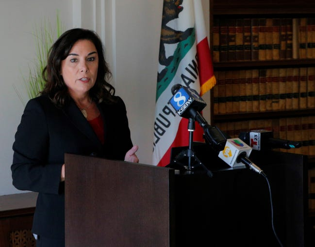 At a June 27, 2019 press conference, Monterey County District Attorney Jeannine Pacioni reviewed findings of the fatal shooting of Kevin Anthony Alaniz by park rangers in Big Sur, Calif.