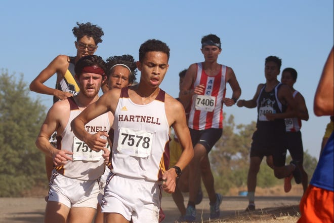 Hartnell sophomore Jacob Niles (7578) is one of three Hartnell runners to sign on with Notre Dame de Namur University.