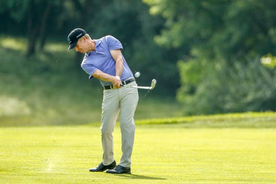 David Toms hits a shot during the first round at the 2019 U.S. Senior Open at Warren Golf Course at Notre Dame  in South Bend, Ind. on Thursday.