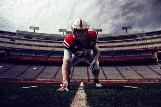 Chamberlain senior Nash Hutmacher, who verbally committed to the University of Nebraska on Saturday, poses for a photo at Memorial Stadium in Lincoln, Neb.