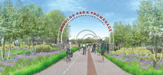 The Arnolds Park Promenade at Preservation Park project will convert a walkway into a nature walk with lighted  arches. It's due to open July 4.