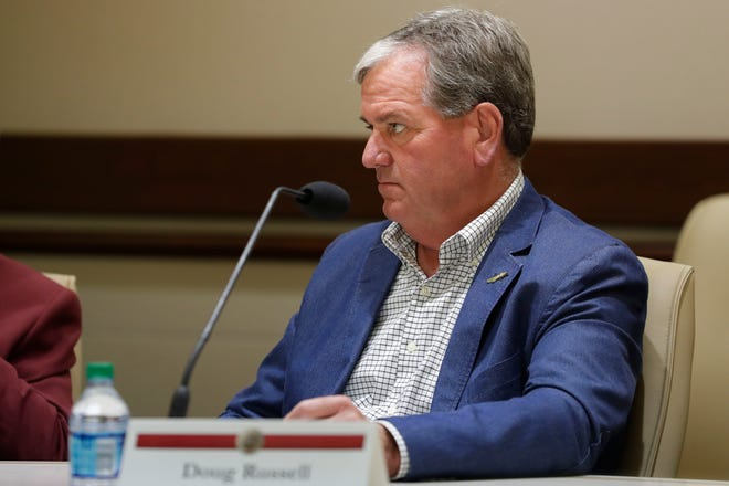 Doug Russell, now the immediate past chairman ofthe Seminole Boosters, listens in during a meeting with the Florida State University Athletics Association Thursday on June 27, 2019.