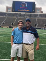 Ben Bates and son Angus at Notre Dame Stadium