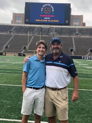 Ben Bates and son Angus at Notre Dame Stadium