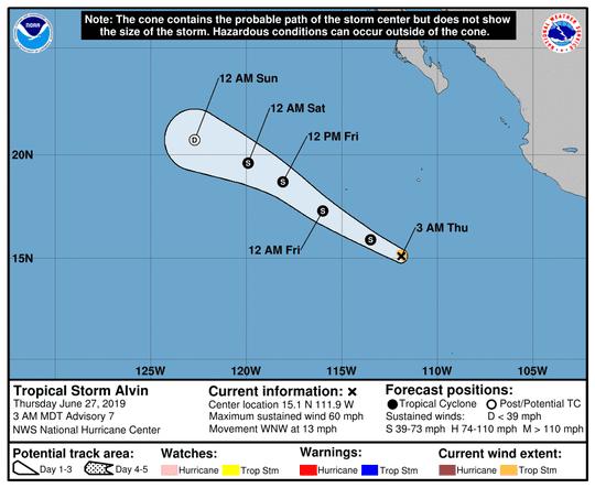 Tropical Storm Alvin at 5 a.m. June 27, 2019