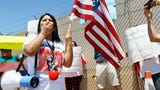 Protesters at the Border Patrol facility in Clint in opposition of the alleged mistreatment of the migrant children at the station Thursday, June 27.