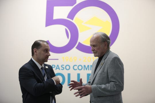 EPCC President William Serrata, left, and former state Sen. Joe Christie, tour the El Paso Museum of History Thursday, June 27.