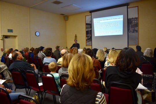 More than 80 people filled a conference room at a Ventura library for a panel of speakers opposed to what they see as a push for mandatory vaccinations.