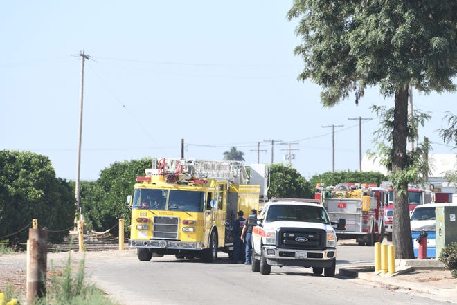 Hazmat crews investigate an ammonia spill at Exeter-based Foodlink on Thursday, June 27, 2019.