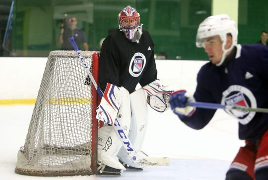 Goaltender Igor Shesterkin during the New York Rangers prospect development camp scrimmage June 27, 2019 at Chelsea Piers in Stamford, Conn.
