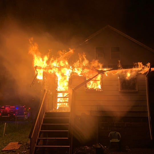 A fire burned through a house on Jay Street in Spring Valley on June 21, 2019.