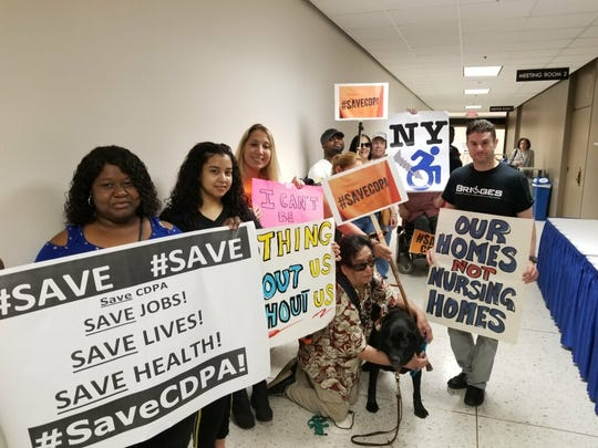 Advocates and consumers who use the Consumer Directed Personal Assistance Program were in Albany on June 26, 2019, to protest possible changes to CDPA.