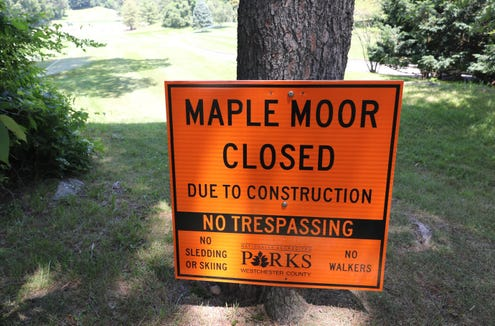 A construction sign is pictured at Maple Moor Golf Course in White Plains, June 27, 2019.