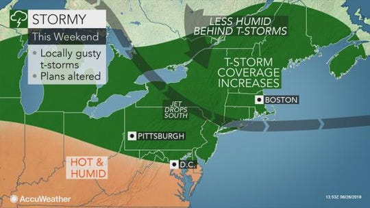 Storms could hit the Lower Hudson Valley on Saturday amid hot, humid weather.