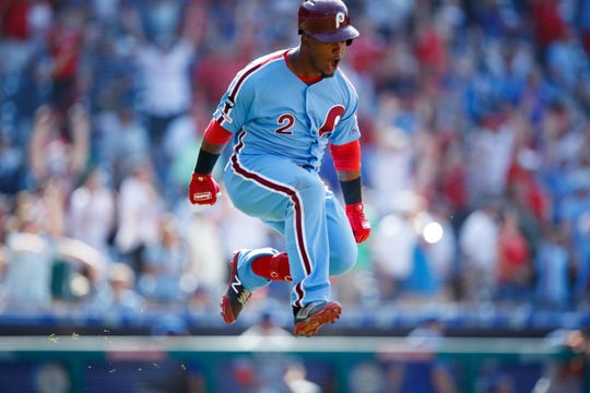 Jean Segura celebrates his game-winning ninth-inning home run for the Phillies Thursday.