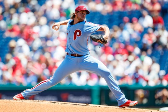The Phillies' Aaron Nola pitches during the first inning against the New York Mets on Thursday at Citizens Bank Park in Philadelphia.