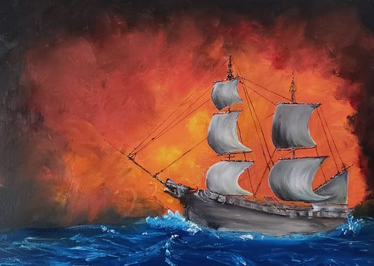 """Wichita Falls artist Jenny Kuehner Bechtold's painting of the She Wolf pirate ship is featured on the cover of former Wichitan Thomas Phillips' debut novel """"Andalon Awakens."""""""