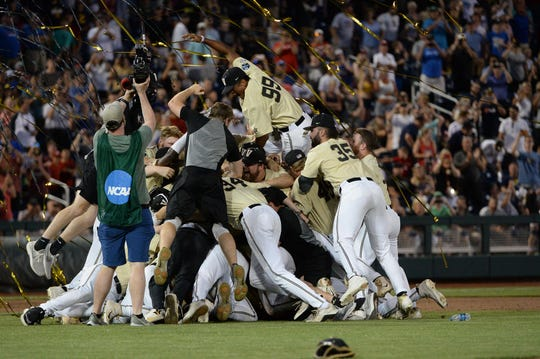 The Vanderbilt Commodores celebrate after winning the national championship.