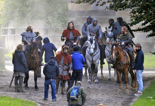 Hollywood star Chris Pine shoots scenes from Outlaw King at Glasgow Cathedral.