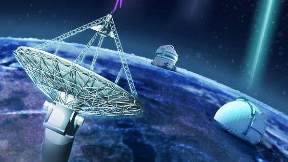 An artists's conception of how ground-based telescopes detected a fast radio burst from a distant galaxy.