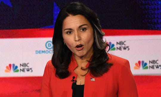 Democratic presidential hopeful Rep. Tulsi Gabbard speaks during the first Democratic primary debate of the 2020 presidential campaign season.