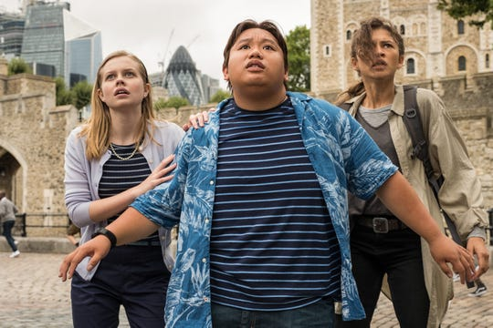 """Betty Brant (Angourie Rice, from left), Ned Leeds (Jacob Batalon) and MJ (Zendaya) find themselves in harm's way on a European class trip in """"Spider-Man: Far From Home."""""""
