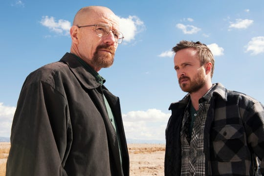 "Bryan Cranston, left, and Aaron Paul are Emmy-winning actors who starred in the hit drama, ""Breaking Bad."""