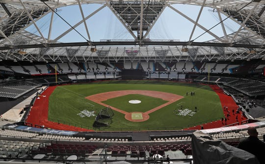 A view of London Stadium set up for this weekend's baseball series.