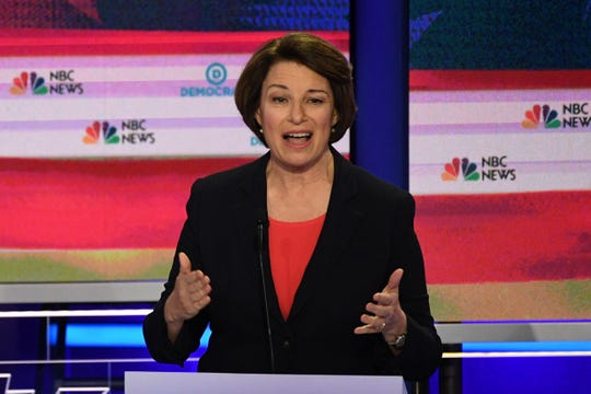 Sen. Amy Klobuchar, D-Minn,, speaks during the first Democratic primary debate  in Miami on June 26, 2019.