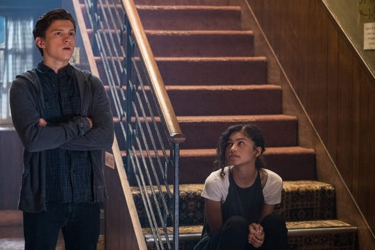 "Peter (Tom Holland) tries to score some face time with MJ (Zendaya) while on their class trip in ""Spider-Man: Far From Home."""