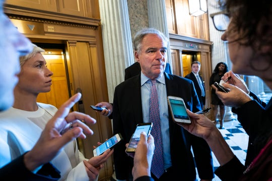Democratic Senator from Virginia Tim Kaine speaks to reporters in the U.S. Capitol on June 27, 2019.