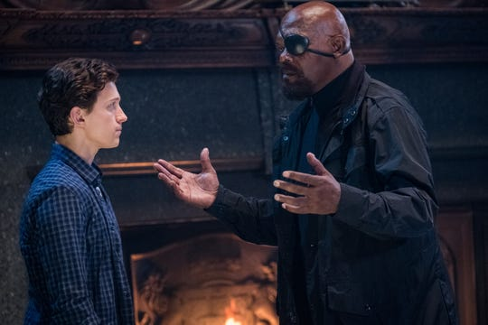"""Nick Fury (Samuel L. Jackson, right) doesn't love having to team up with Peter Parker (Tom Holland) in """"Spider-Man: Far From Home."""""""