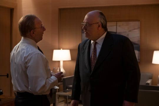 Media mogul Rupert Murdoch (Simon McBurney), left, and his Fox News chief, Roger Ailes (Russell Crowe), argue in the Showtime limited series, 'The Loudest Voice.'