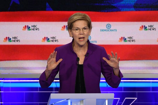 Sen. Elizabeth Warren, D-Mass., participates in the first Democratic primary debate in Miami on June 26, 2019.