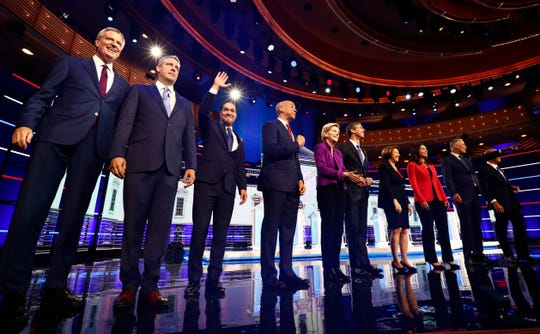 Democratic presidential candidates before the first Democratic debate in Miami on June 26, 2019.