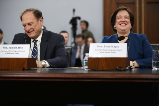 Associate Justice Elena Kagan, here testifying to Congress with Associate Justice Samuel Alito, decried the striking down of Supreme Court precedents.