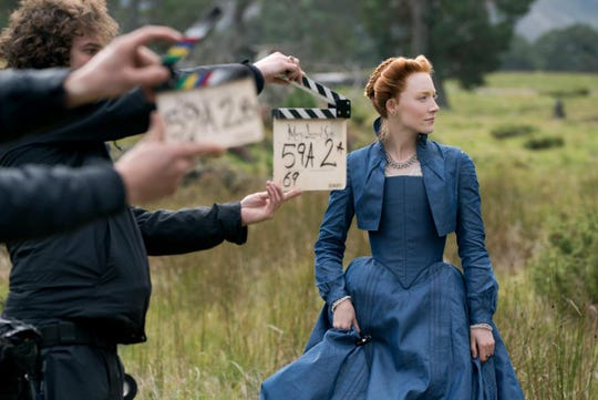 Saoirse Ronan during the filming of Mary Queen of Scots.
