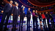 Democratic presidential candidates take part in the first night of the Democratic presidential debate on June 26, 2019 in Miami.