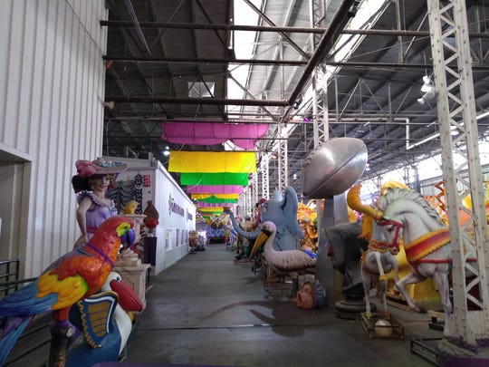Since the 1940s, the Blaine Kern family been fabricating all sizes of props for Mardi Gras floats. These pieces are made and stored at Mardi Gras World.
