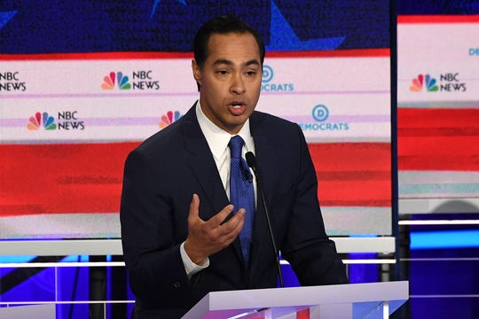 Former Secretary of Housing and Urban Development Julian Castro speaks during the first Democratic primary debate in Miami on June 26, 2019.
