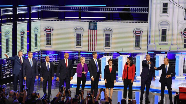 Democratic presidential hopefuls participate in the first Democratic primary debate of the 2020 presidential campaign season in Miami.