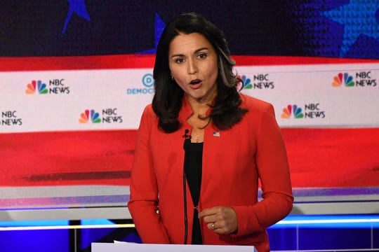 Rep. Tulsi Gabbard, D-Hawaii, speaks during the first Democratic primary debate   in Miami on June 26, 2019.